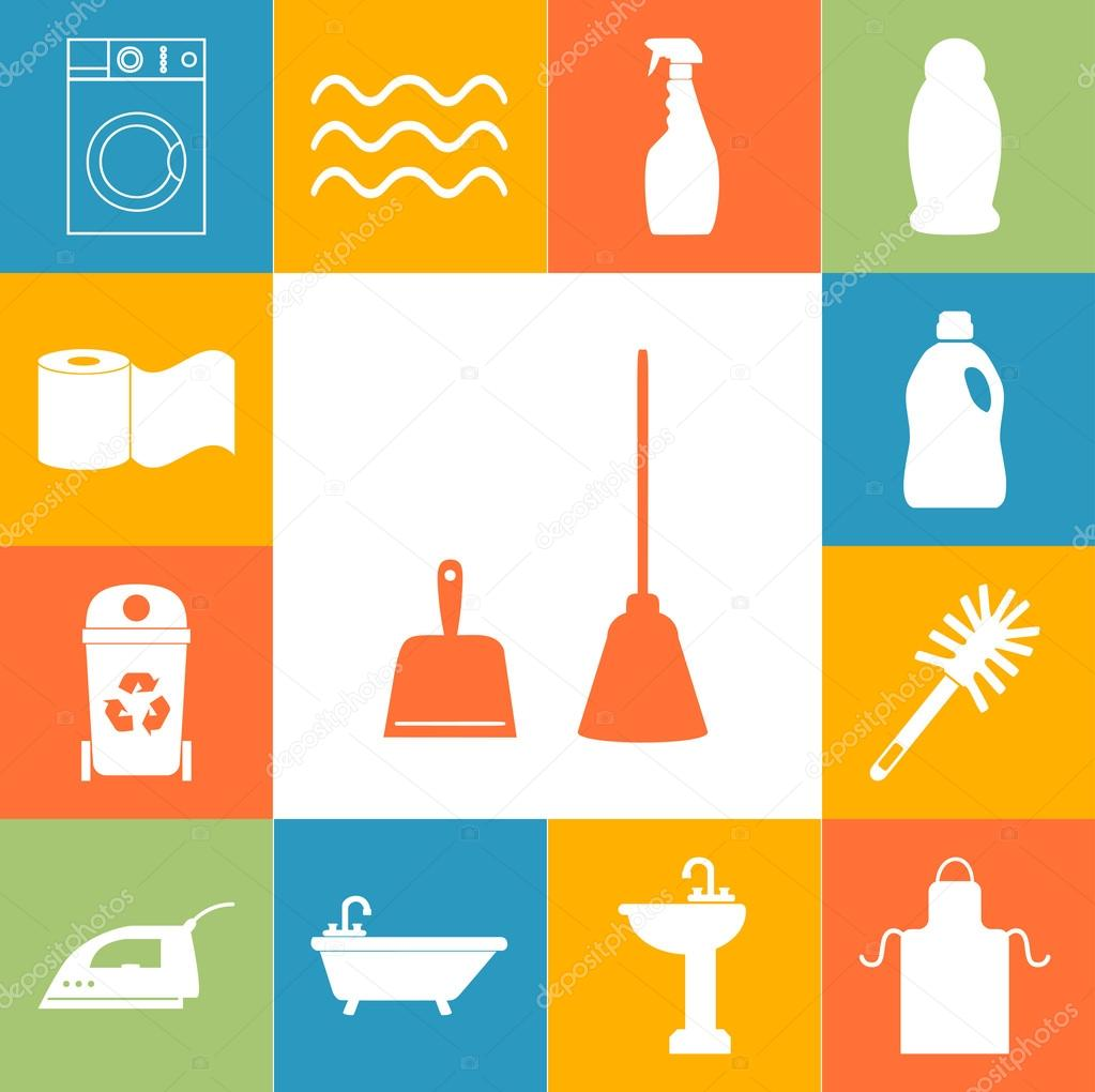 Cleaning service icons colorfull set. Flat style Vector illustration