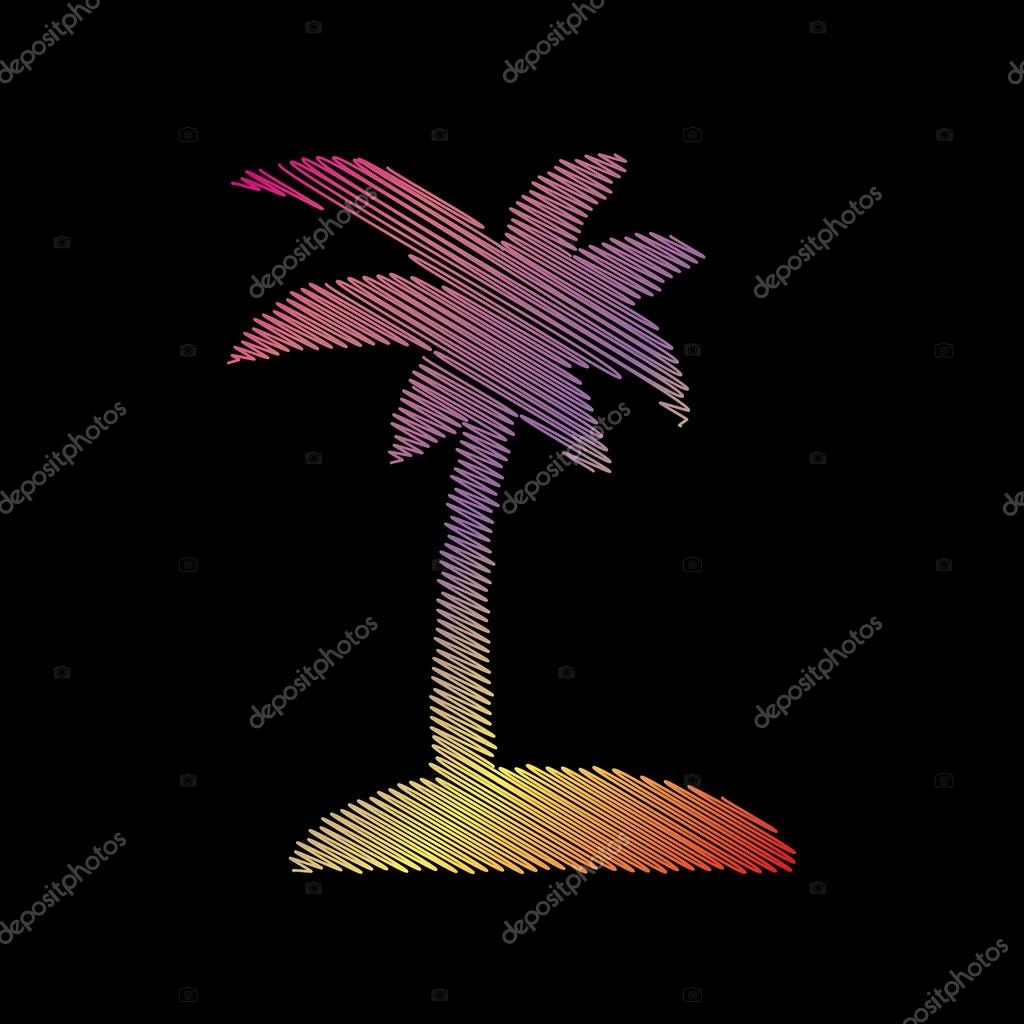Coconut palm tree sign. Coloful chalk effect on black backgound.