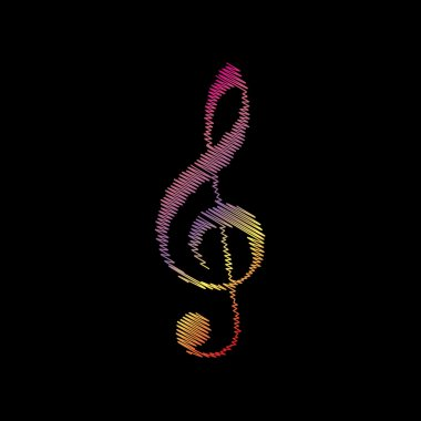 Music violin clef sign. G-clef. Treble clef. Coloful chalk effect on black backgound.