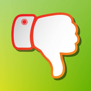 Hand sign illustration. Contrast icon with reddish stroke on green backgound.