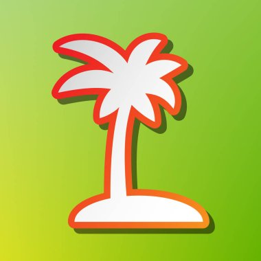 Coconut palm tree sign. Contrast icon with reddish stroke on green backgound.