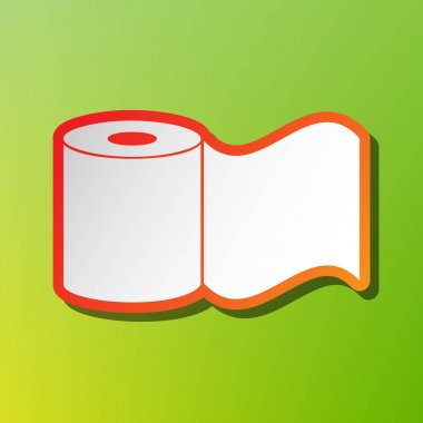 Toilet Paper sign. Contrast icon with reddish stroke on green backgound.