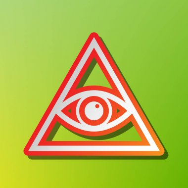 All seeing eye pyramid symbol. Freemason and spiritual. Contrast icon with reddish stroke on green backgound.