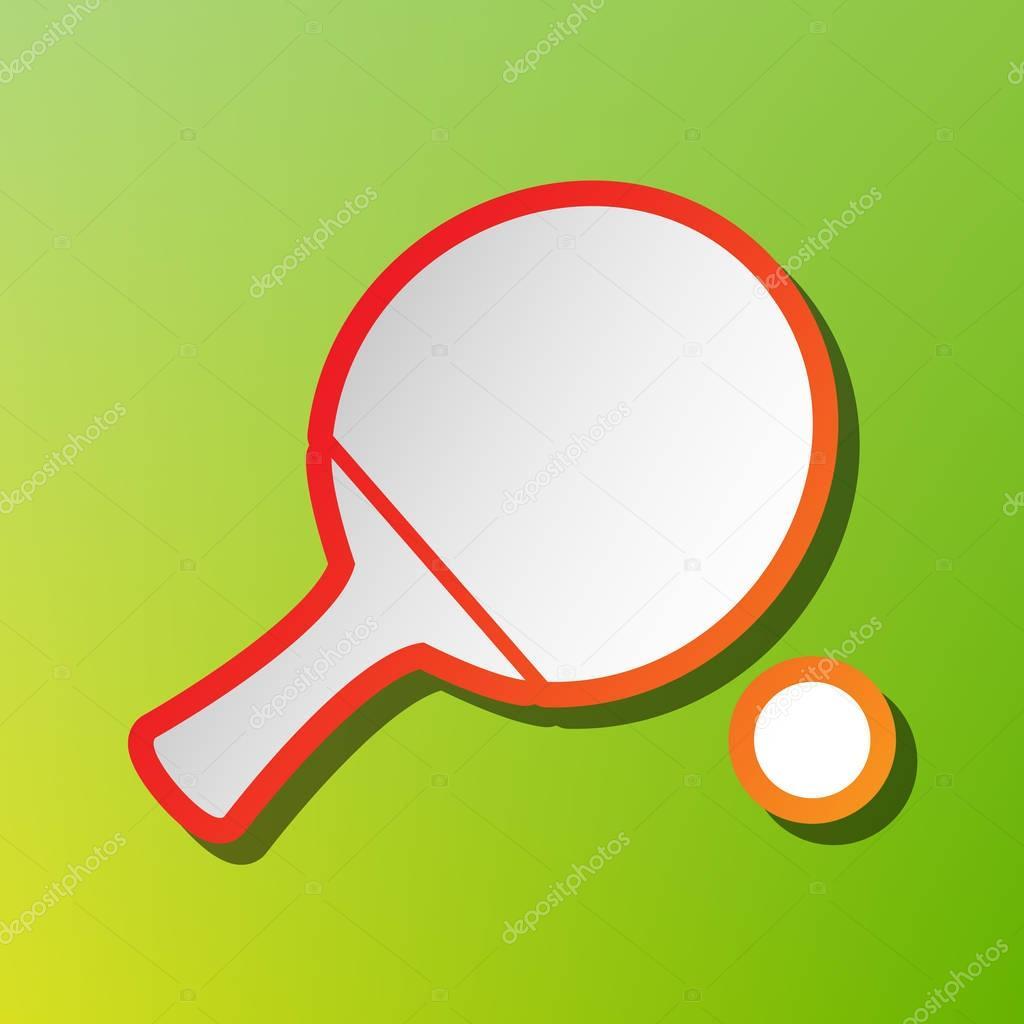 Paleta de ping pong con pelota. Icono de contraste con trazo rojizo ...