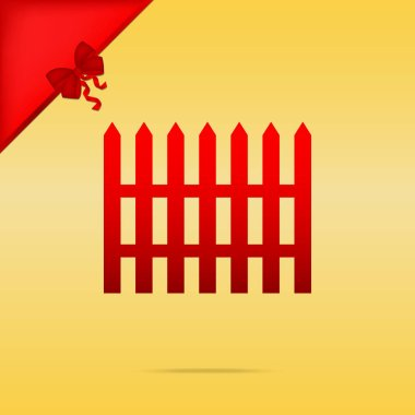 Fence simple sign. Cristmas design red icon on gold background.