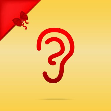Human ear sign. Cristmas design red icon on gold background.