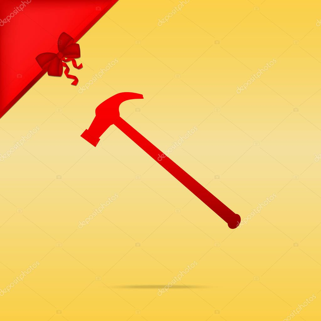 Saw simple Icon. Cristmas design red icon on gold background.
