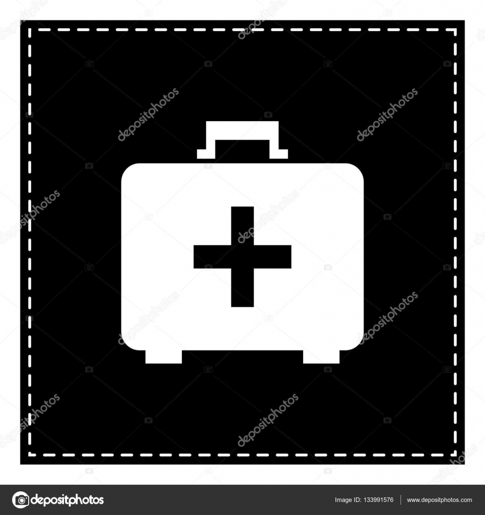 Medical First Aid Box Sign Black Patch On White Background Iso