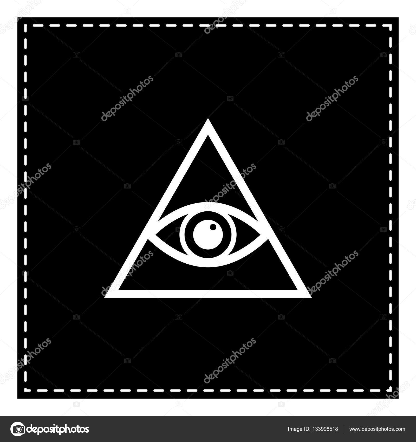 All Seeing Eye Pyramid Symbol Freemason And Spiritual Black Patch On White Background Isolated Vector By Asmati1702gmail