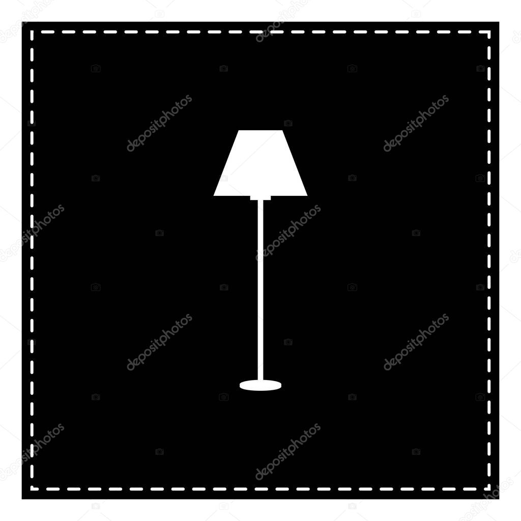 Lamp simple sign. Black patch on white background. Isolated.