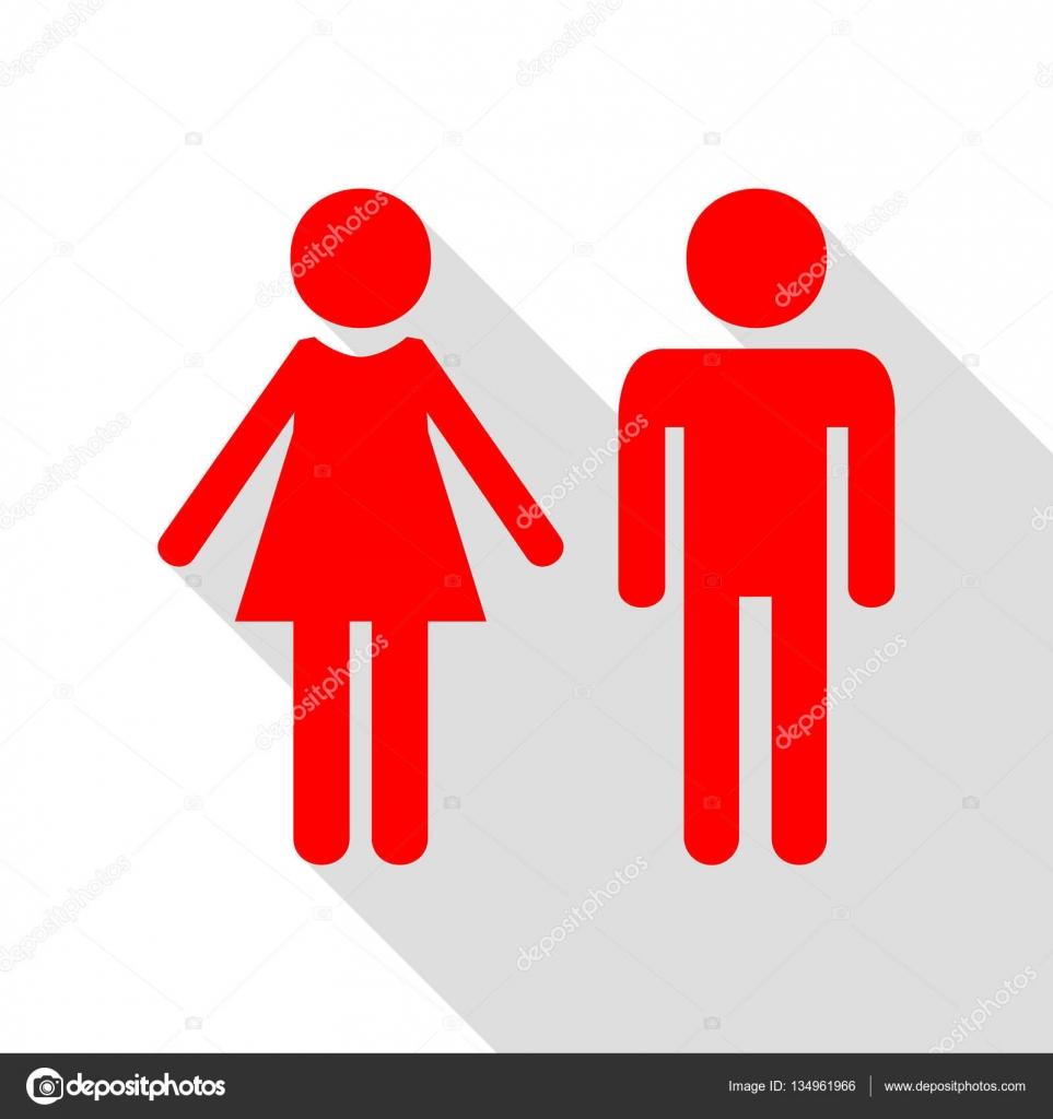 Männliche und weibliche Zeichen. Rotes Symbol mit flachen Stil ...