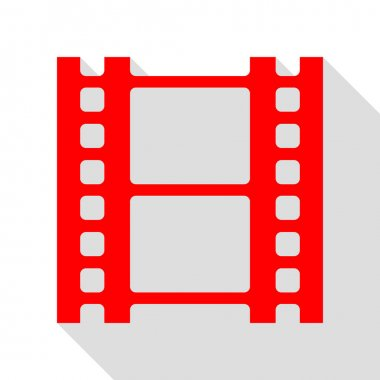 Reel of film sign. Red icon with flat style shadow path.