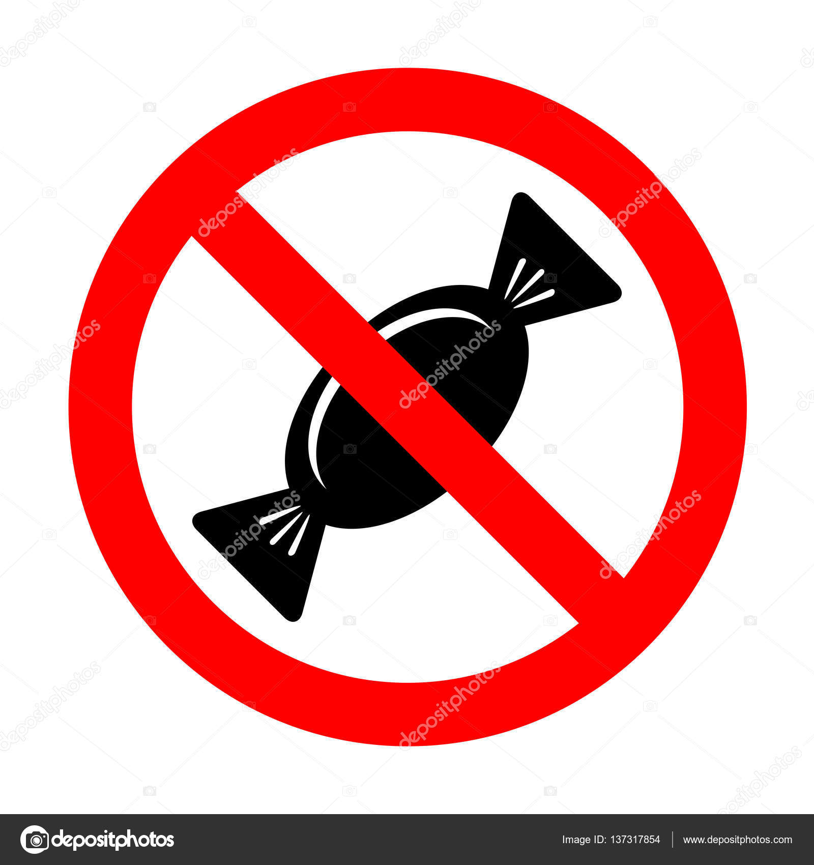 No candy sign   No Candy sign illustration. — Stock Vector ...