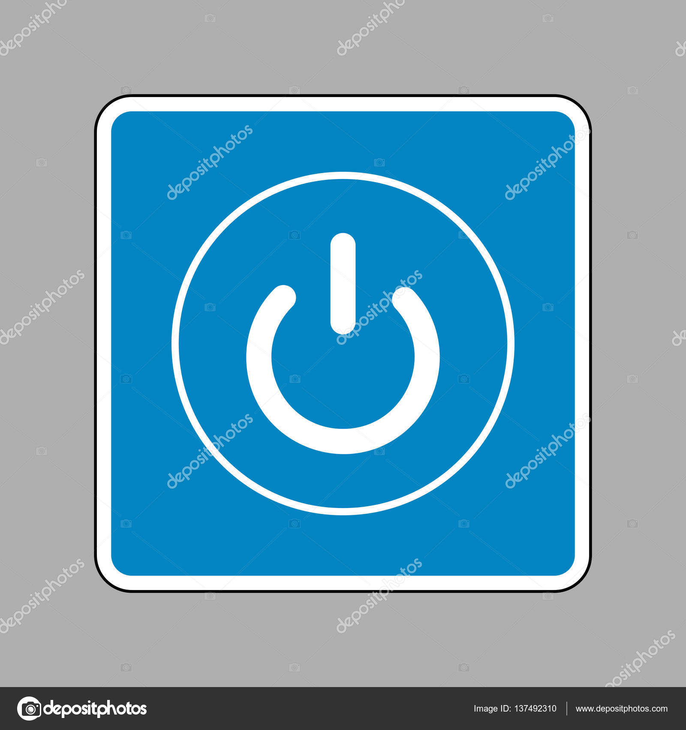 On Off Schalter Zeichen. Weißes Symbol auf blauem Schild als ...