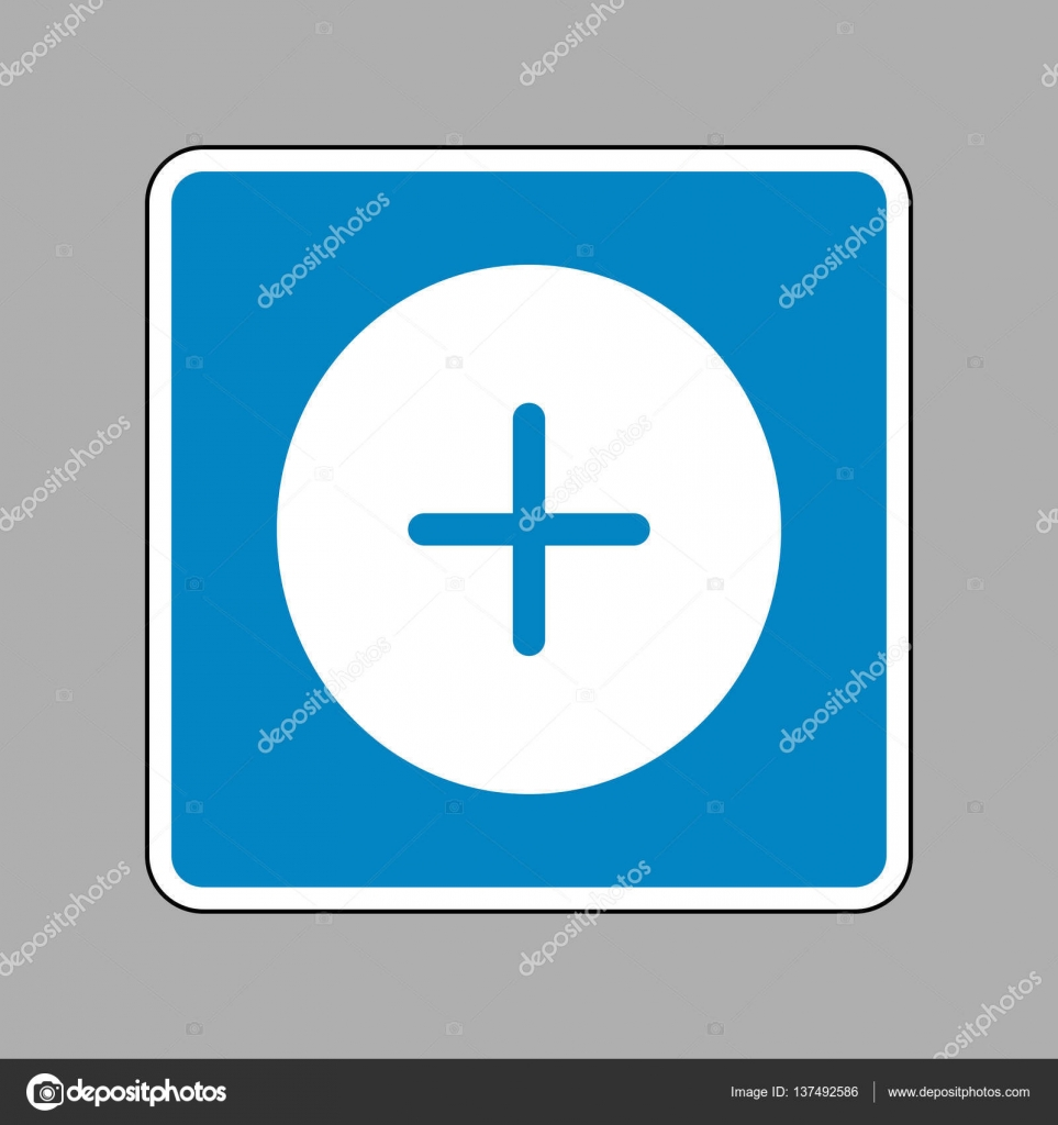 Positive symbol plus sign white icon on blue sign as background positive symbol plus sign white icon on blue sign as background stock vector biocorpaavc Choice Image