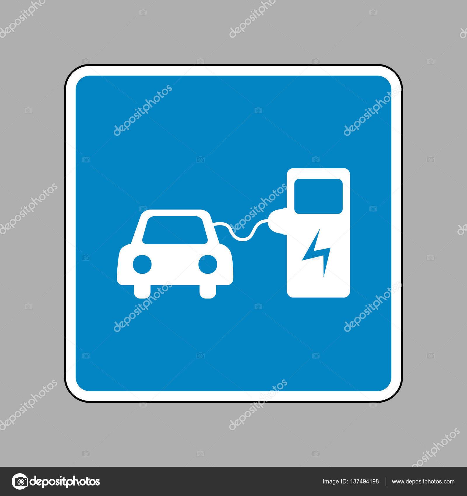 elektro auto aufladen zeichen wei es symbol auf blauem. Black Bedroom Furniture Sets. Home Design Ideas