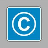Copyright jel illusztráció. Fehér ikon kék jel, mint a háttérb
