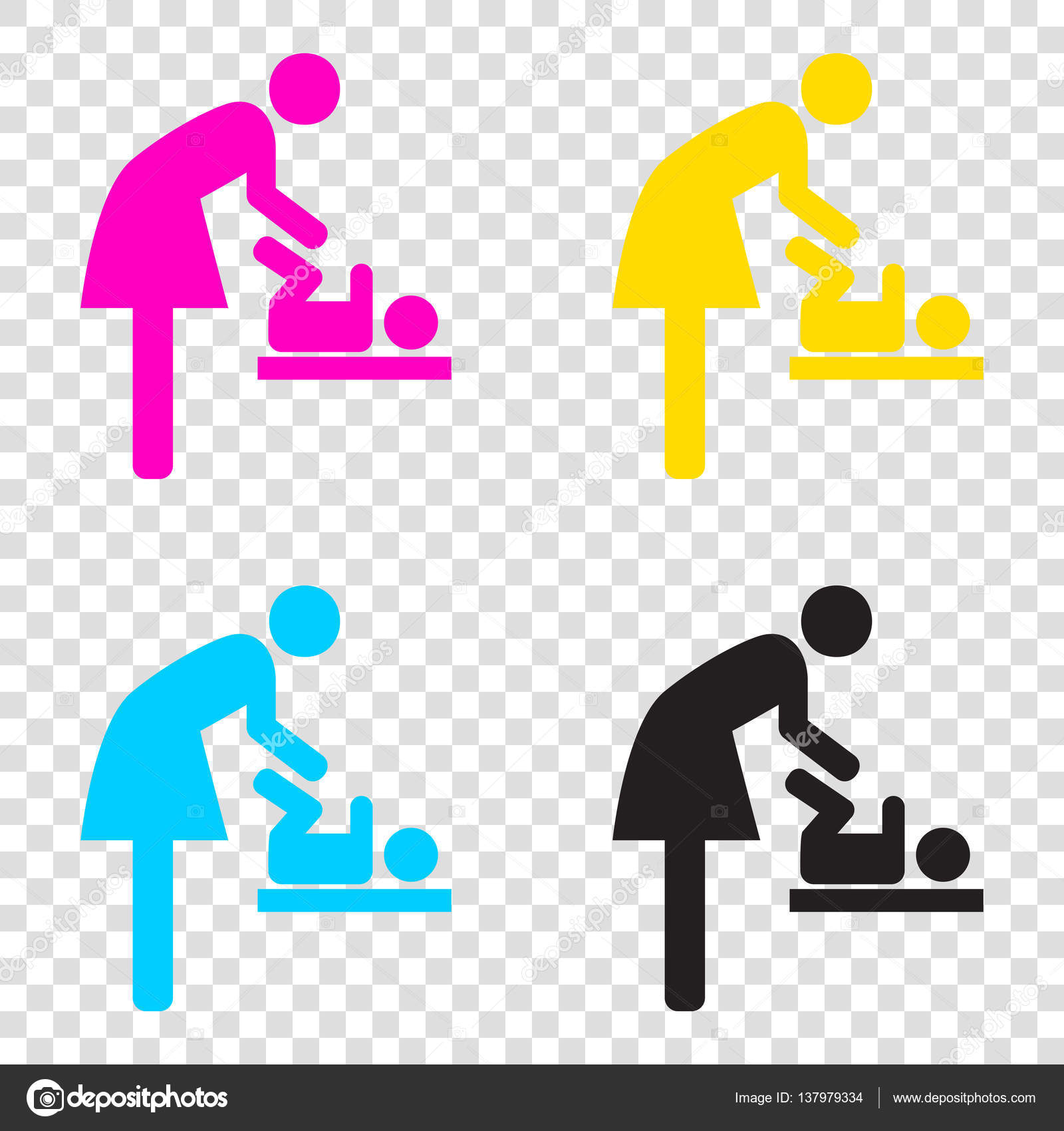 Symbol for women and baby baby changing cmyk icons on transpar symbol for women and baby baby changing cmyk icons on transpar stock vector biocorpaavc Gallery