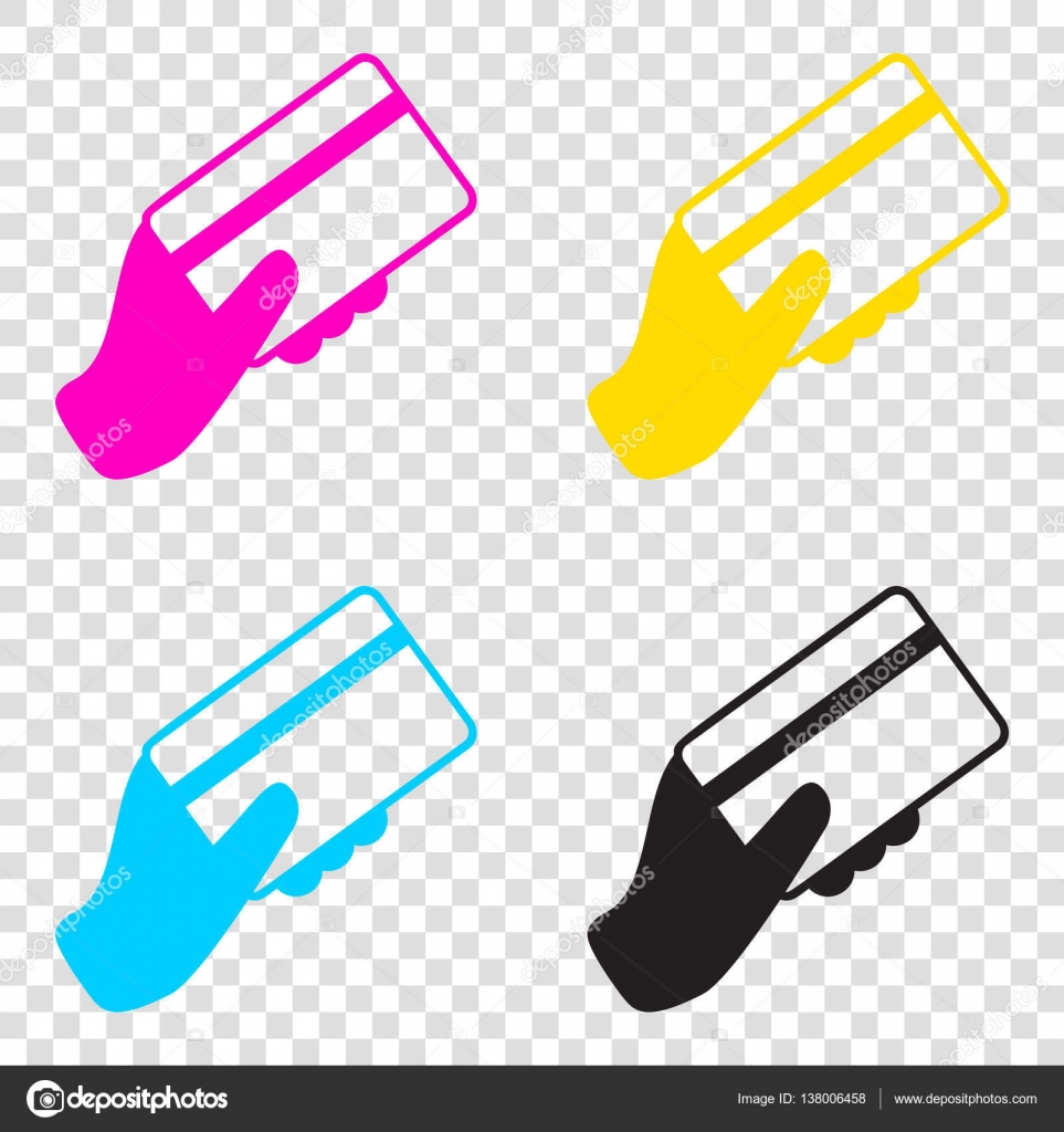 hand holding a credit card cmyk icons on transparent background