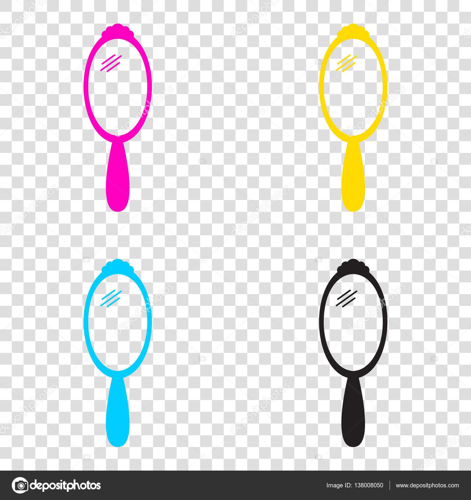 Signo del espejo de mano cmyk los iconos sobre fondo for Espejo transparente