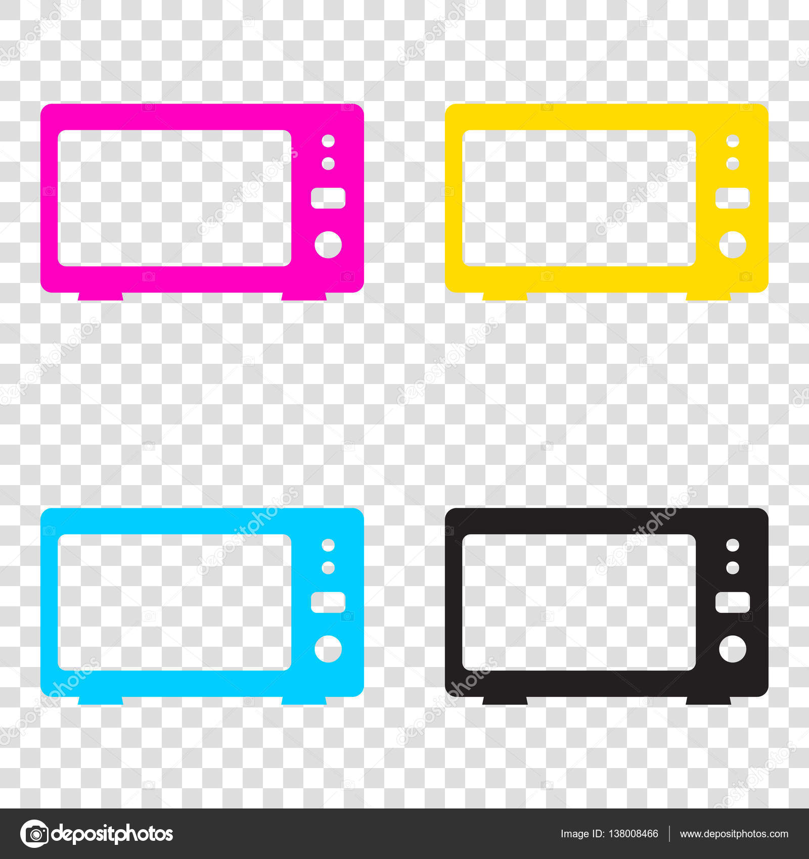 38e214eface2 Microwave sign illustration. CMYK icons on transparent background. Cyan