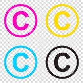 Copyright jel illusztráció. CMYK ikonok-ra átlátszó háttér mintázata