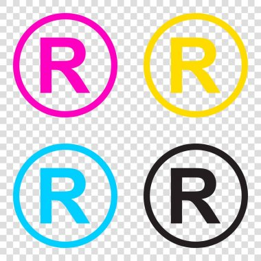 Registered Trademark sign. CMYK icons on transparent background.