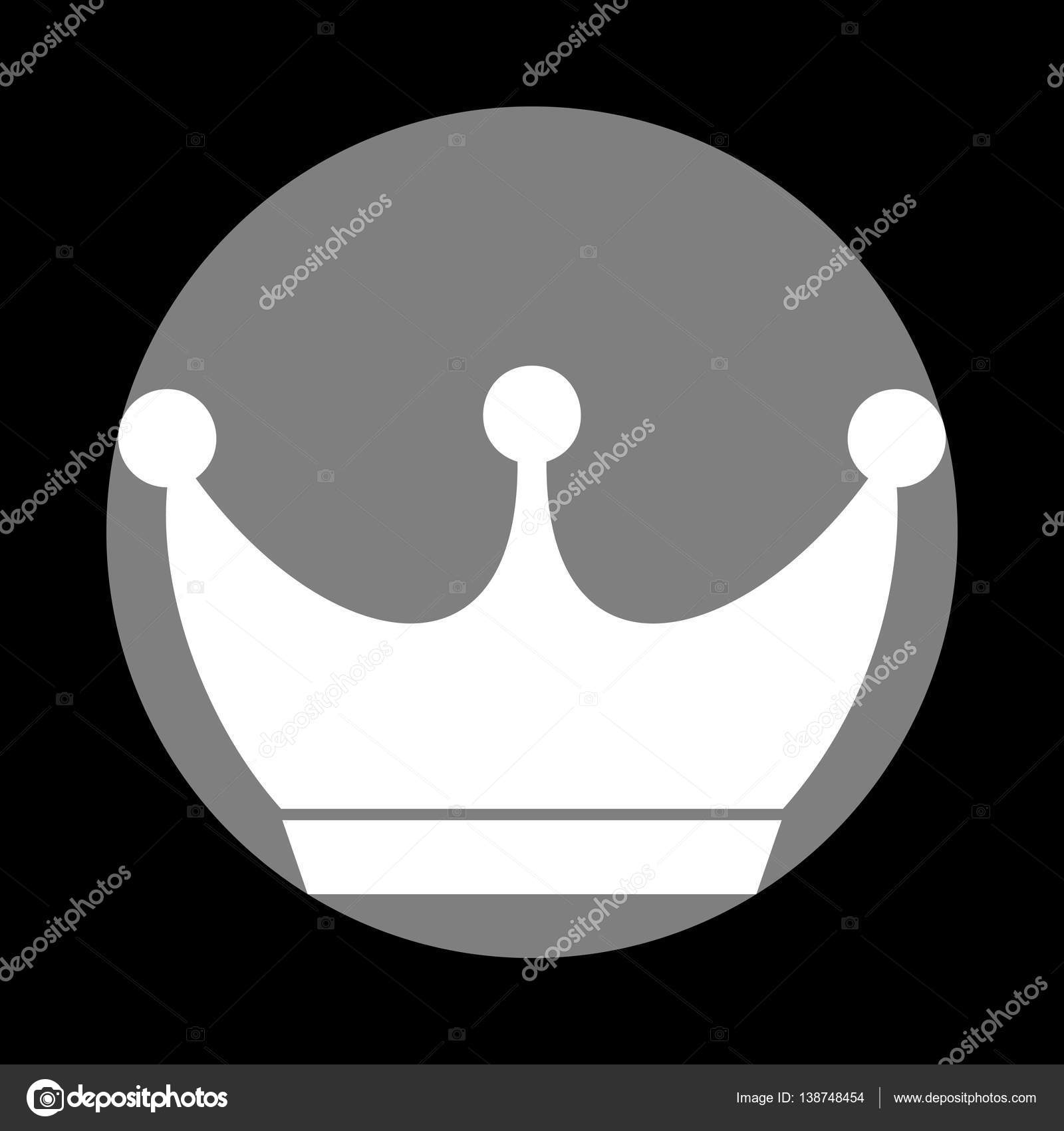 King Crown Sign White Icon In Gray Circle At Black Background