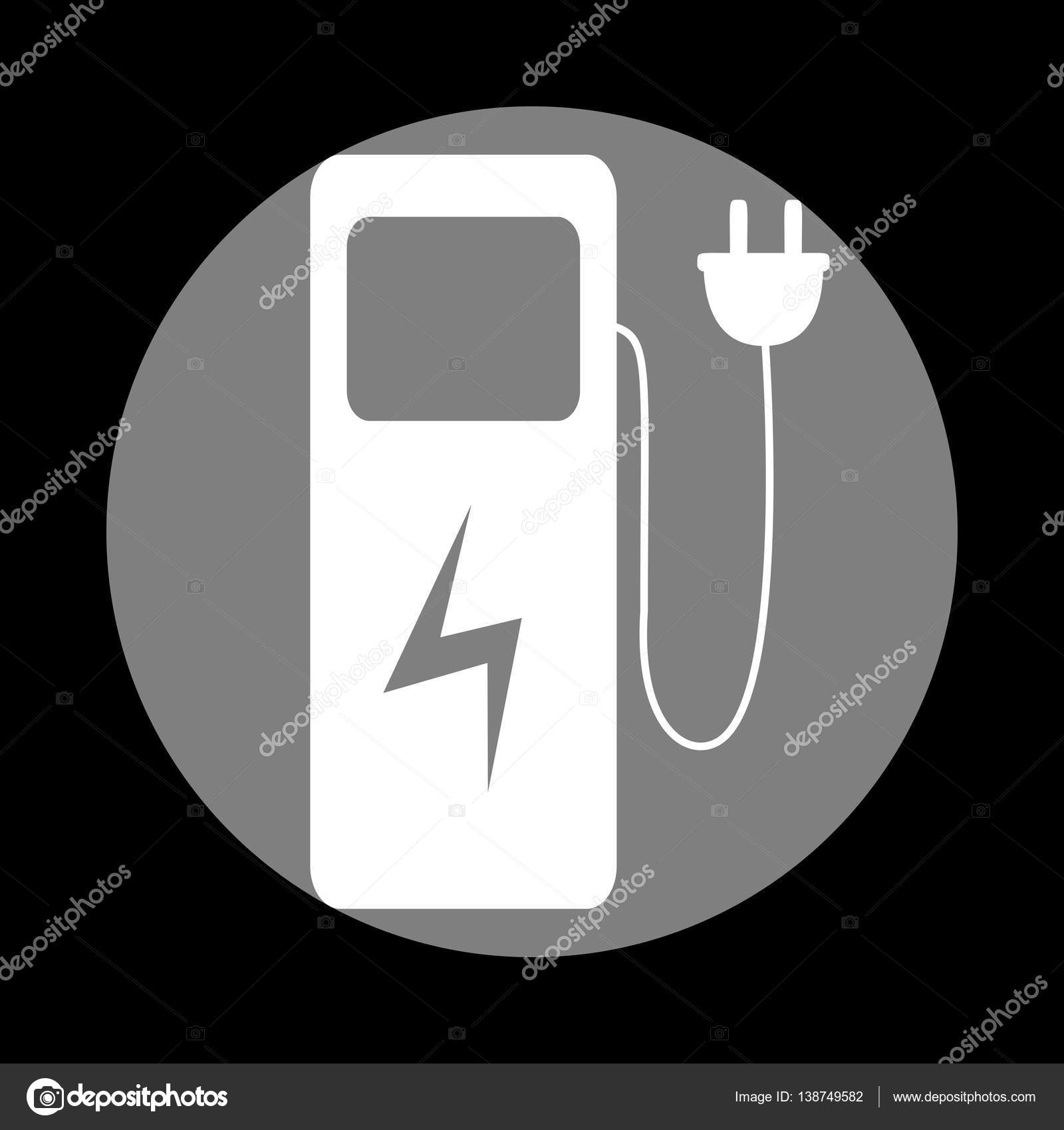 Elektro-Auto aufladen Station Zeichen. Weißes Symbol in grauen Kreis ...