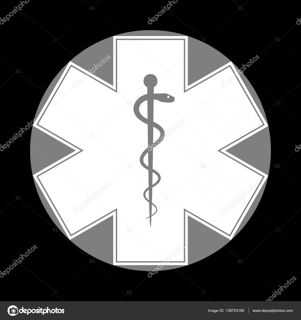 Medical Symbol Of The Emergency Or Star Of Life White Icon In G