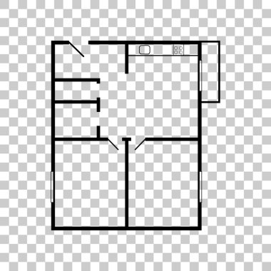 Apartment house floor plans. Black icon on transparent backgroun