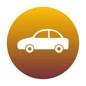 Auto znamení ilustrace. Bílá ikona v kruhu s golden gradientu