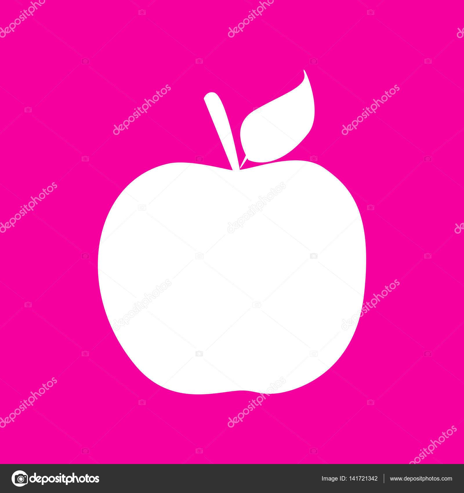 Illustrazione Del Segno Di Apple Icona Bianca Sfondo Rosso Magenta