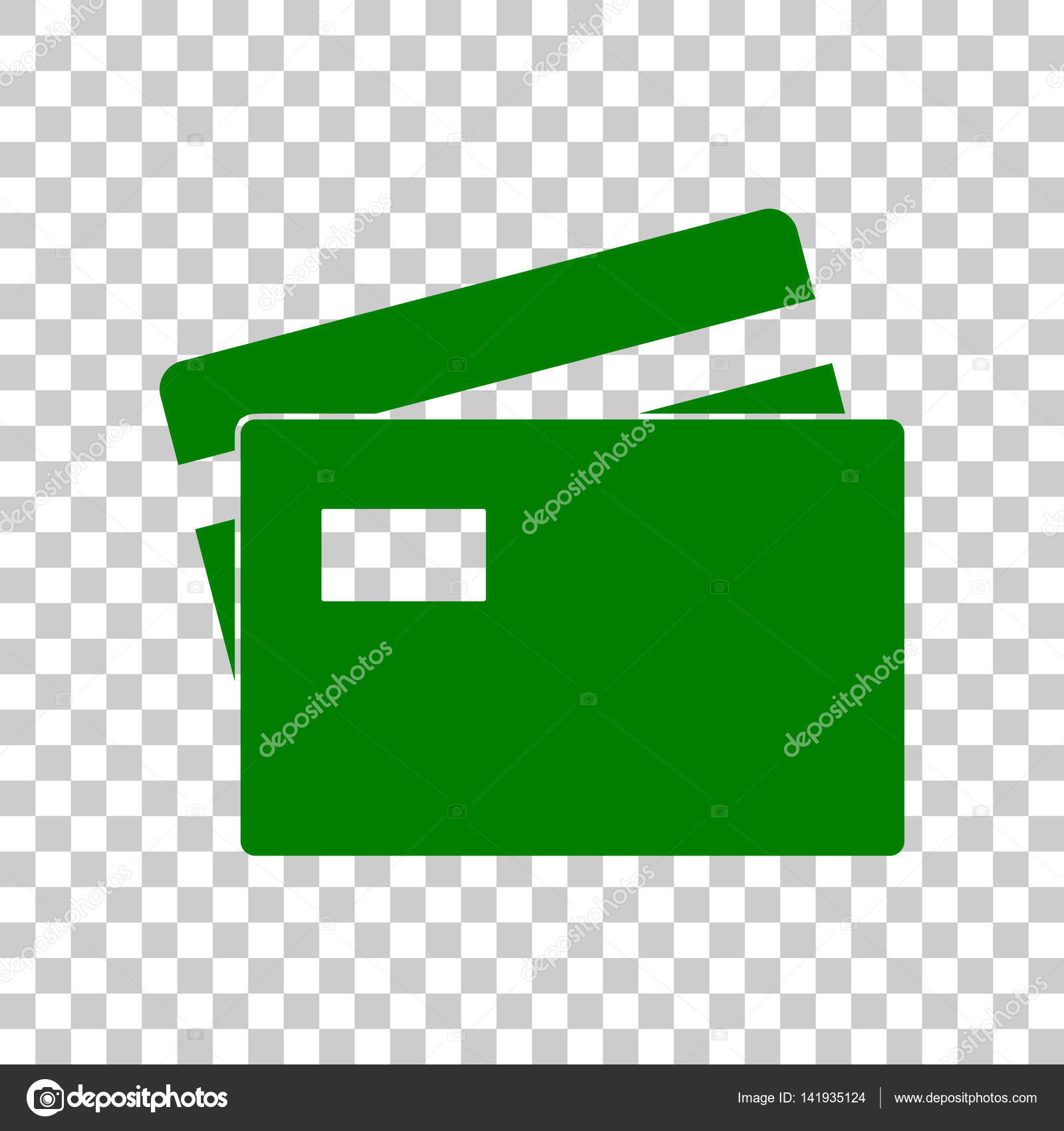 credit card sign dark green icon on transparent background stock