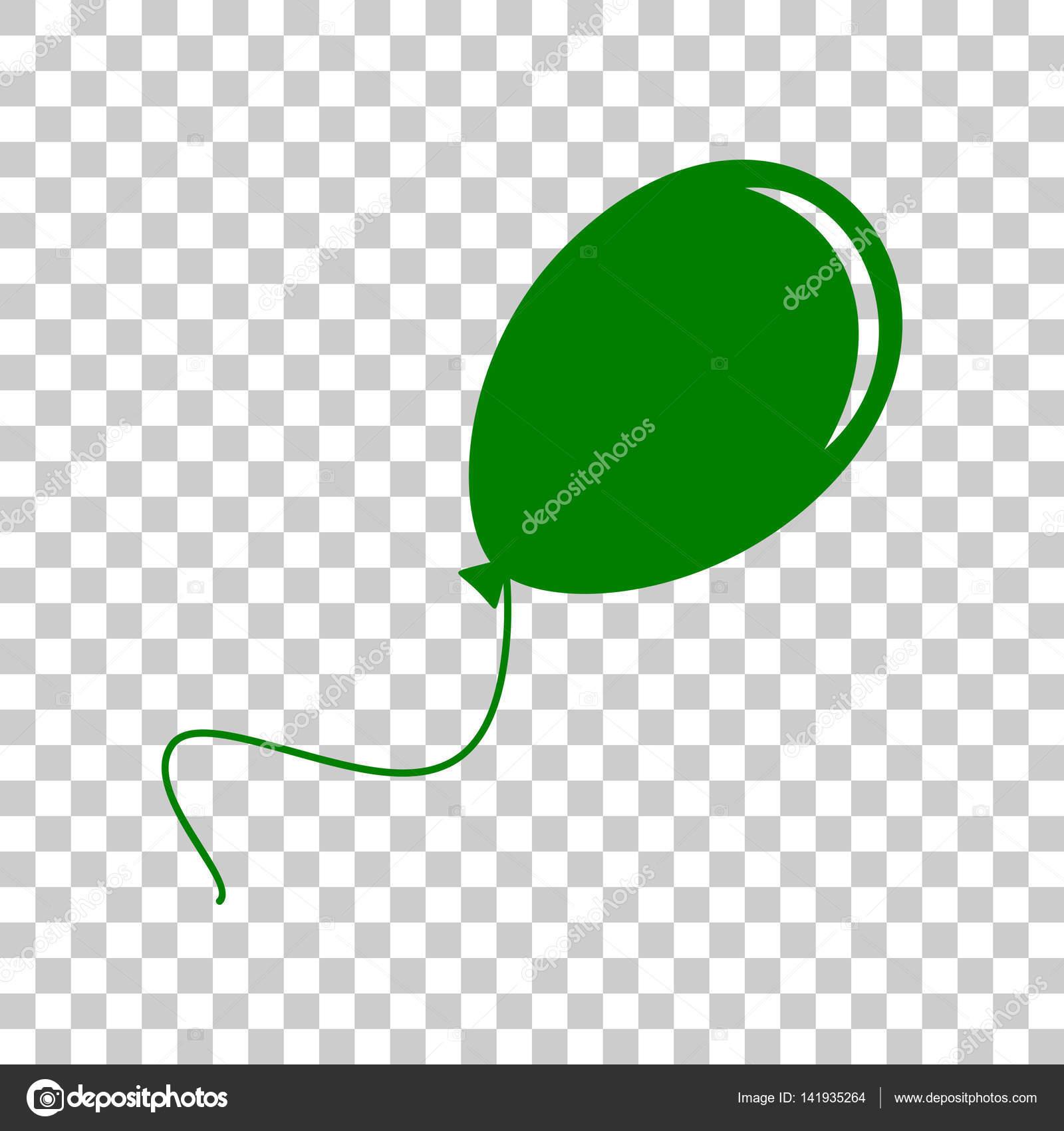 バルーン サイン イラスト。透明な背景に暗い緑色のアイコン — ストック
