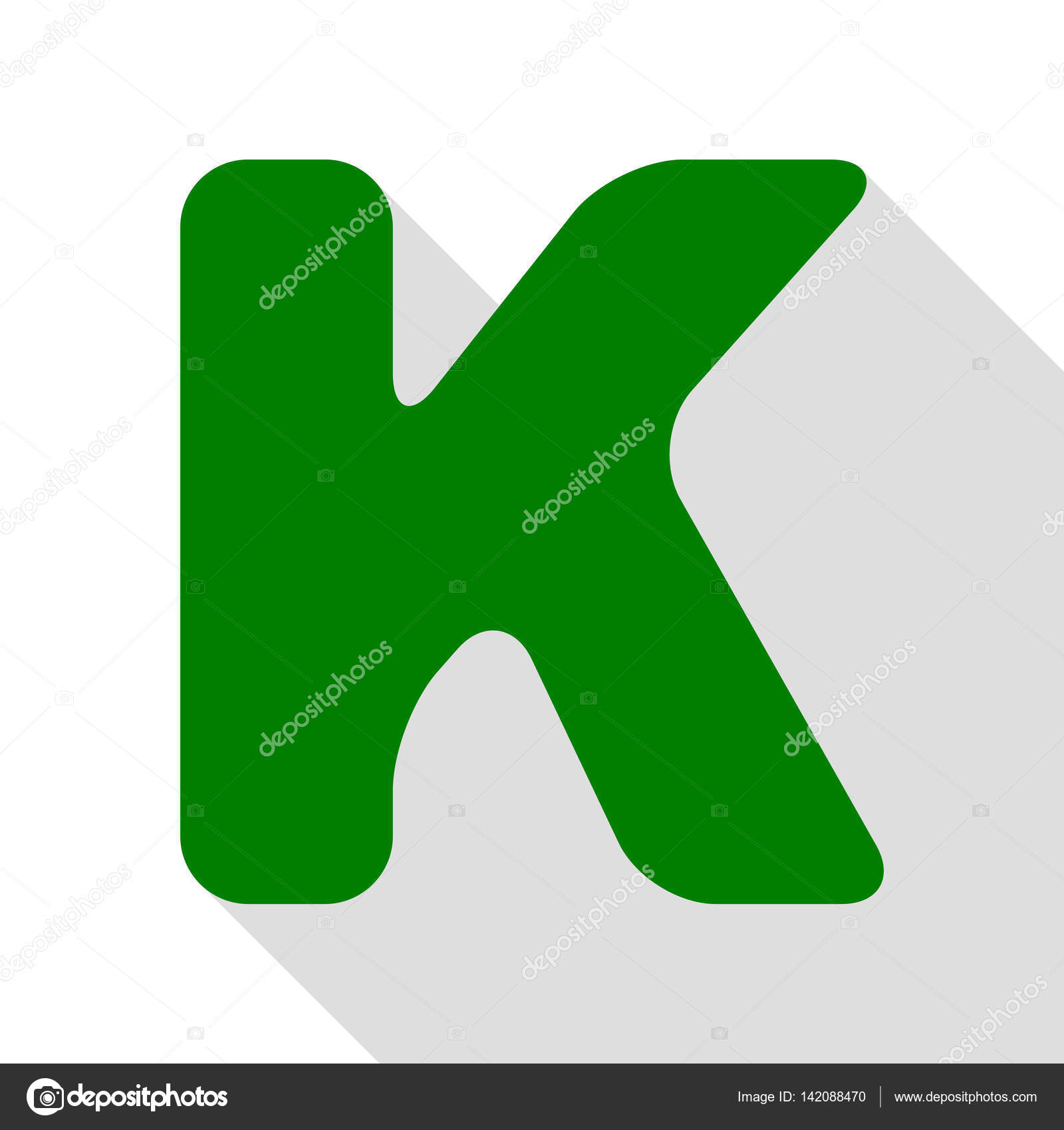 letter k sign design template element green icon with flat style shadow path