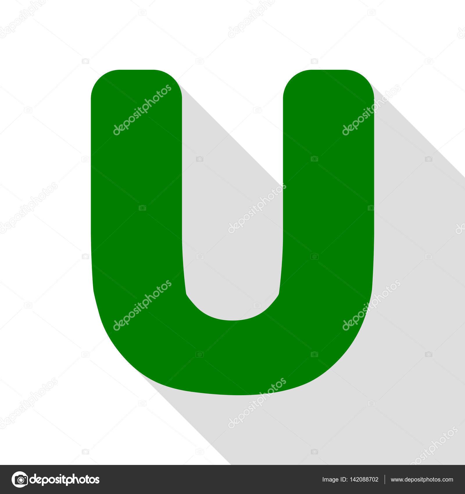 Letra U signo diseño elemento de plantilla. Icono verde con la ruta ...