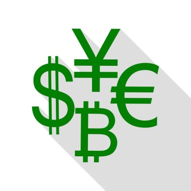Currency sign collection dollar, euro, bitcoin, yen. Green icon with flat style shadow path.