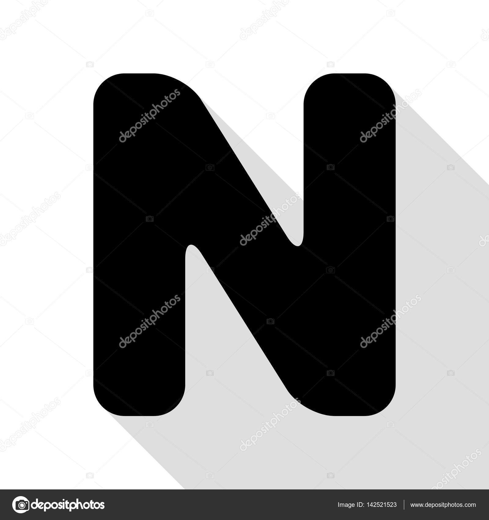 Letter N Sign Design Template Element Black Icon With Flat Style