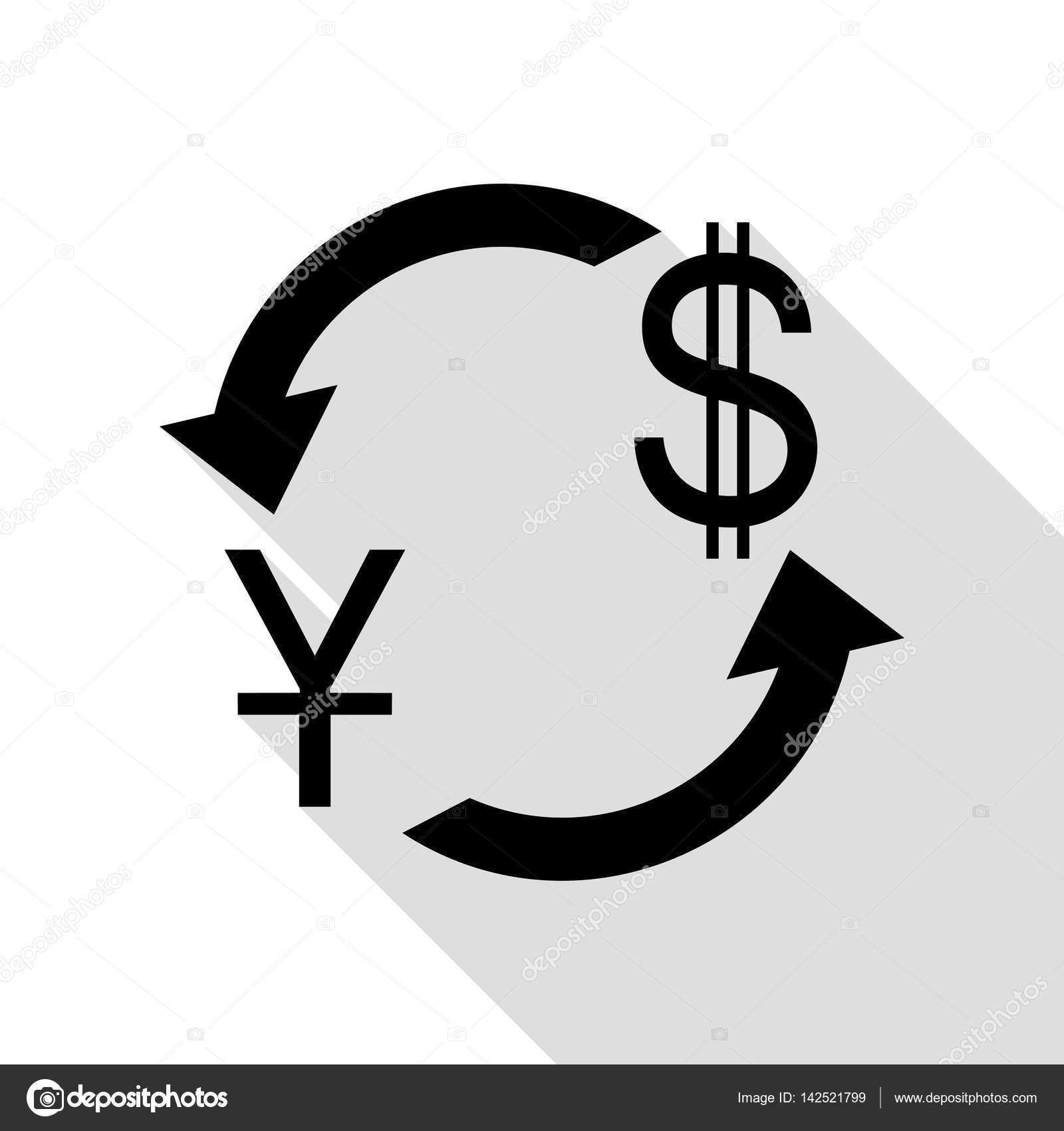 Currency Exchange Sign China Yuan And Us Dollar Black Icon With