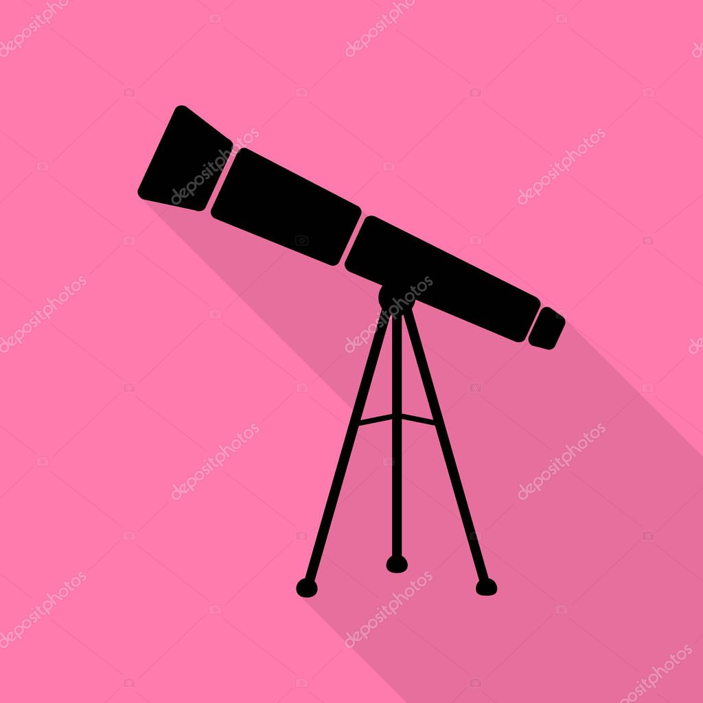 Telescope simple sign. Black icon with flat style shadow path on pink background.