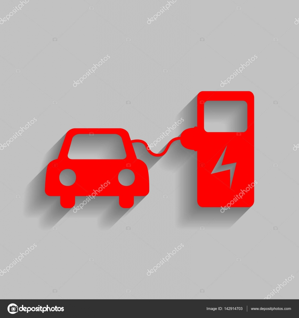 Electric Car Battery Charging Sign Vector Red Icon With Soft