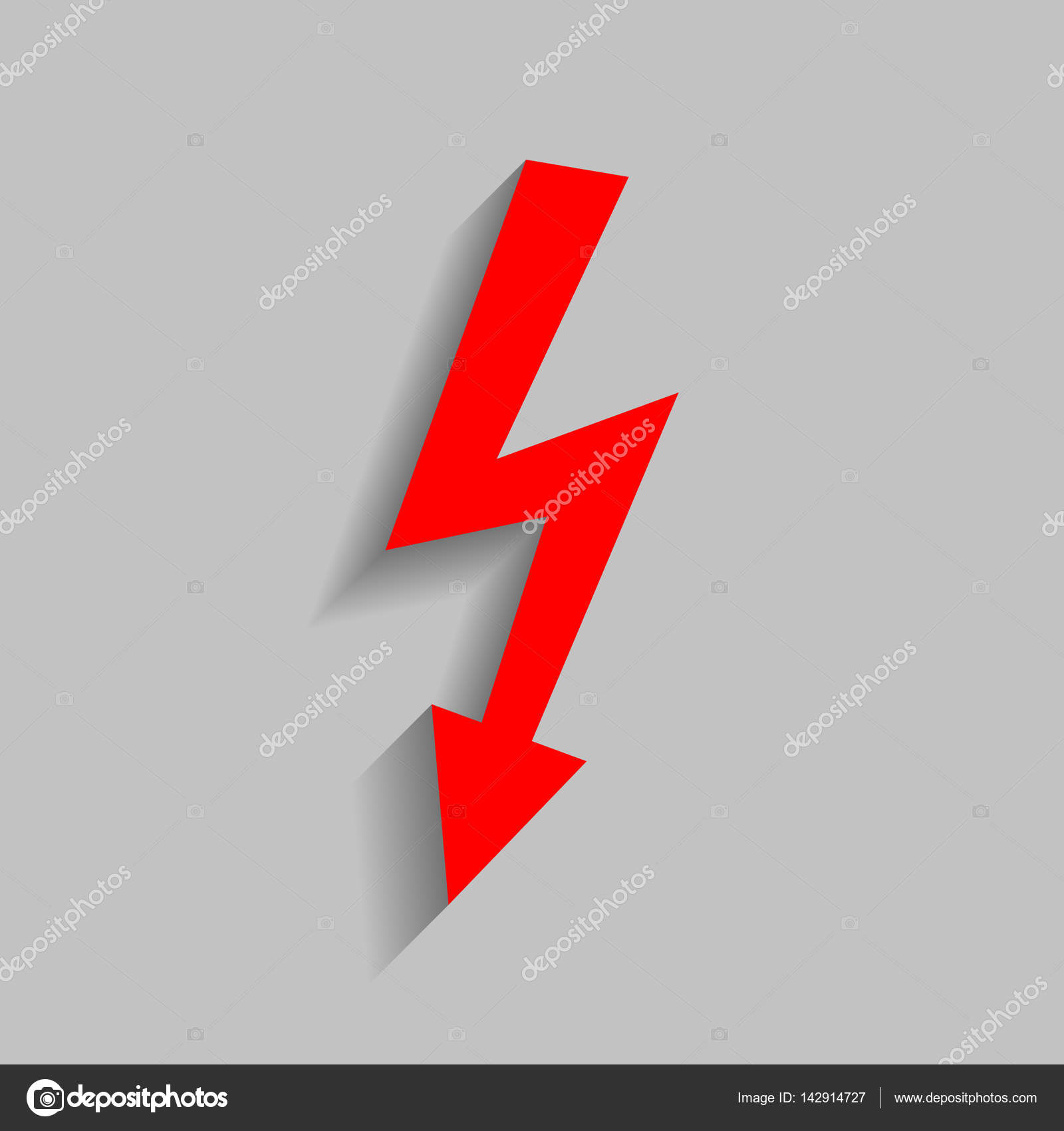 High voltage danger sign. Vector. Red icon with soft shadow on gray ...