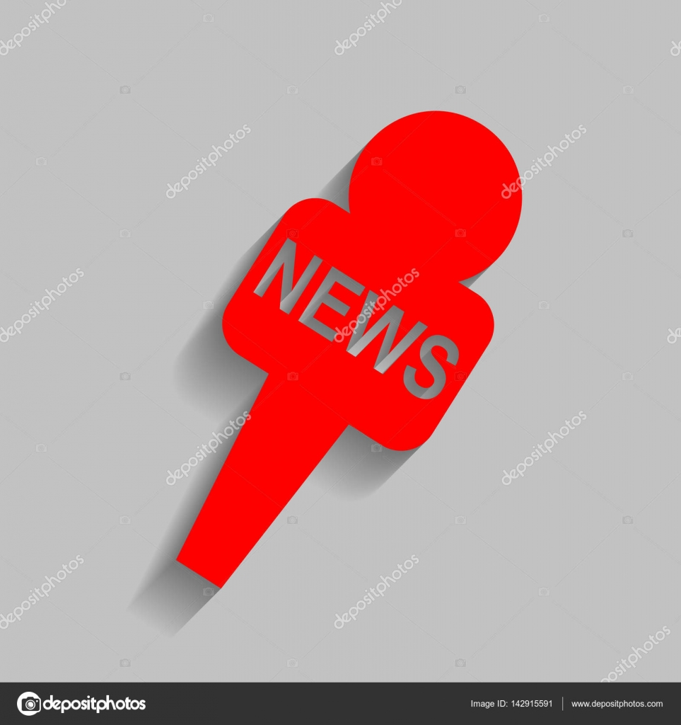 TV news microphone sign illustration  Vector  Red icon with