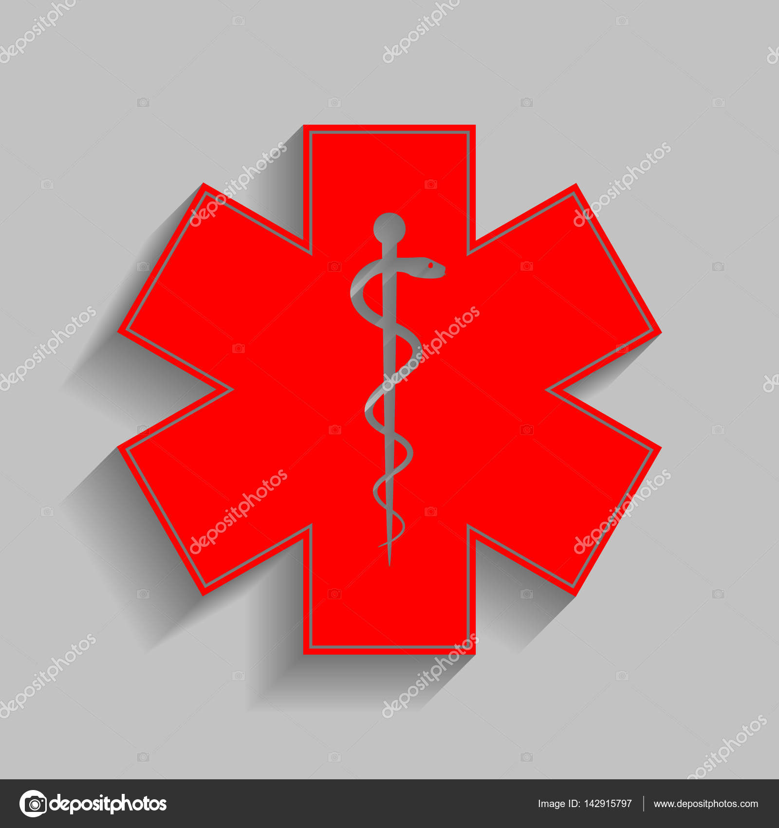 Medical Symbol Of The Emergency Or Star Of Life Vector Red Icon
