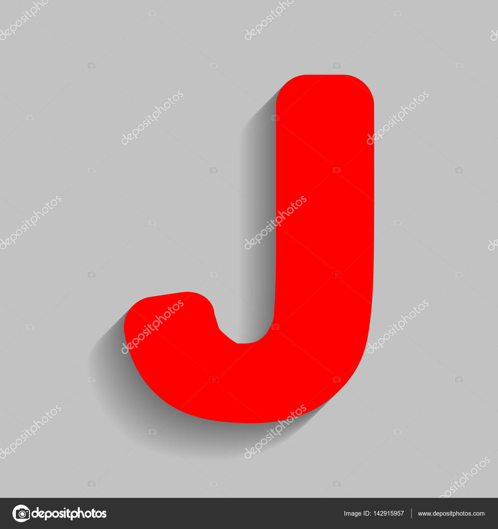 letter j sign design template element vector red icon with soft shadow on gray