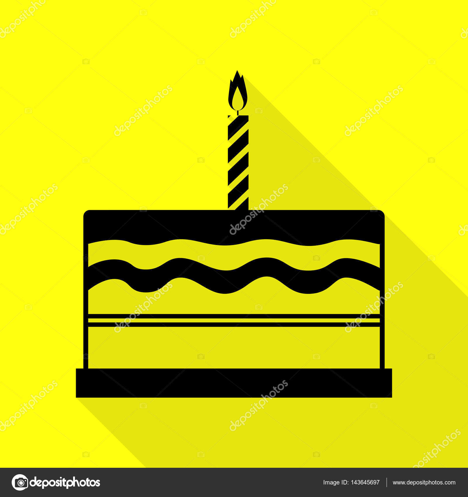 Birthday cake sign Black icon with flat style shadow path on yellow