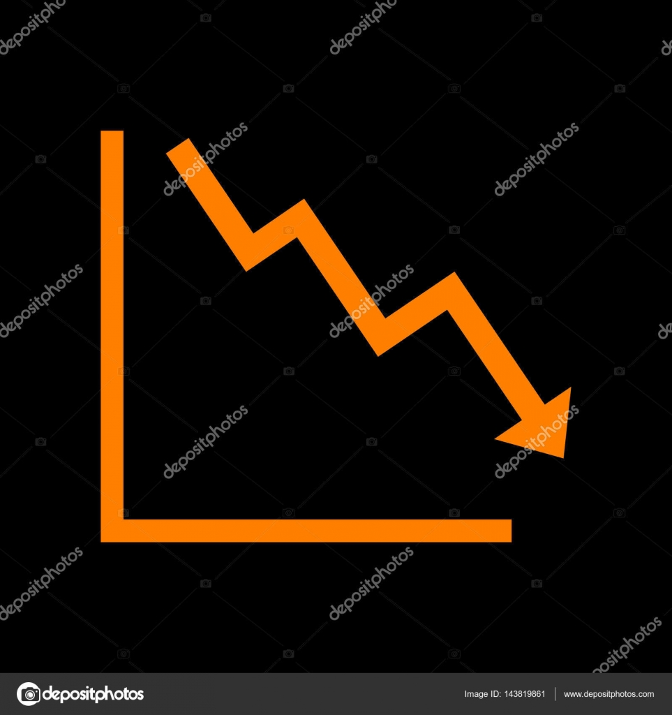 Arrow Pointing Downwards Showing Crisis Orange Icon On Black Crt Monitor Diagram Background Old Phosphor Vector By Asmati1702gmailcom