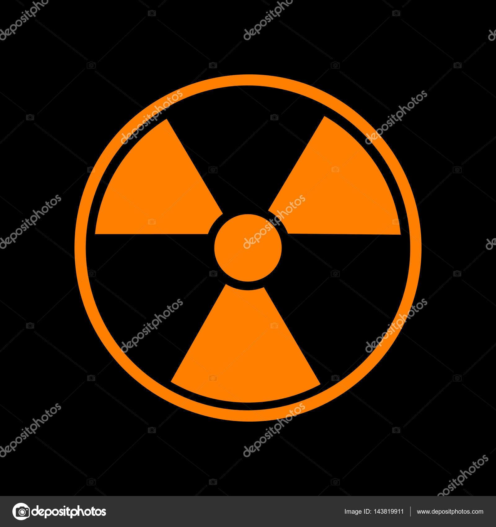 Radiation Round Sign Orange Icon On Black Background Old Phosphor Crt Monitor Diagram