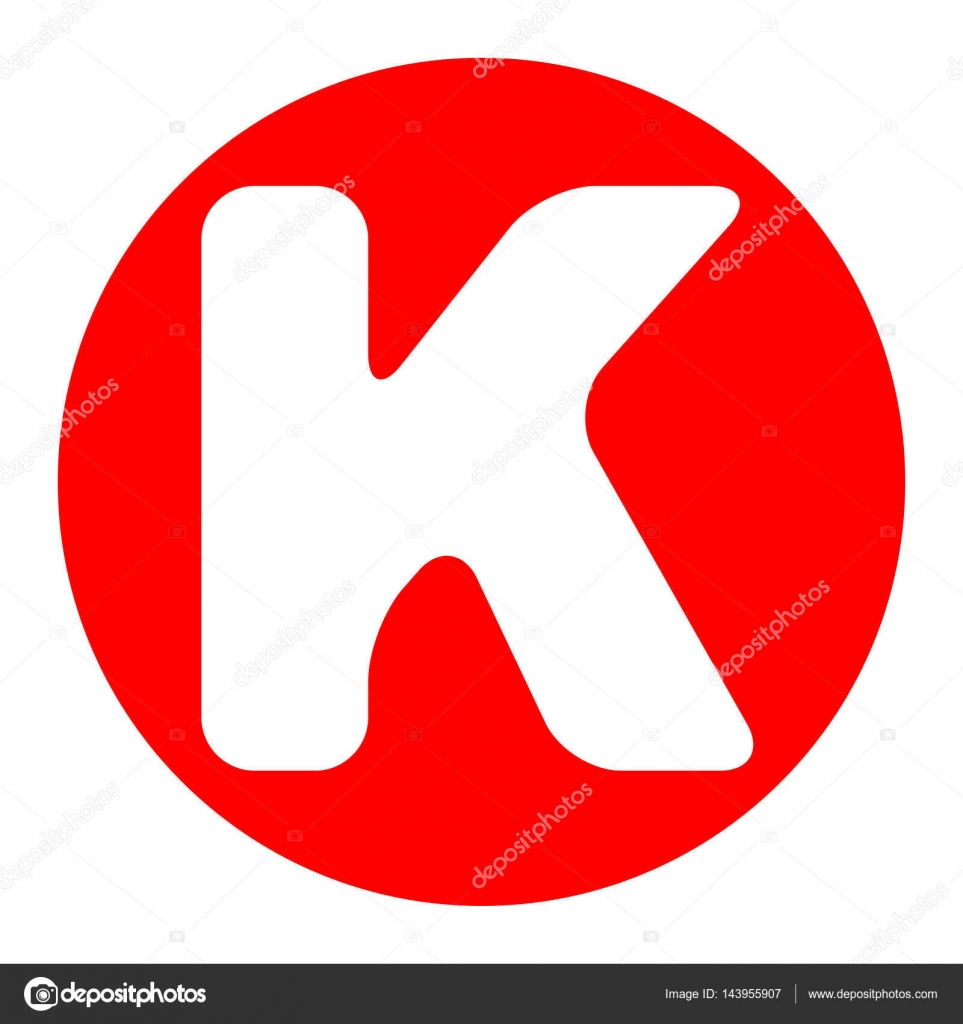 letter k sign design template element vector white icon in red circle on white